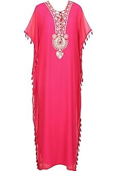 Pink flambe stones and metallic studs embroidered tribal kaftan dress
