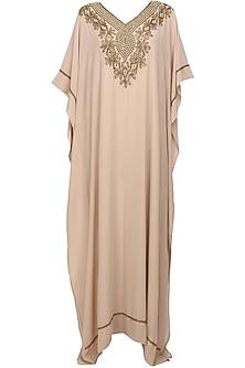 Rose dust beads embroidered kaftan dress