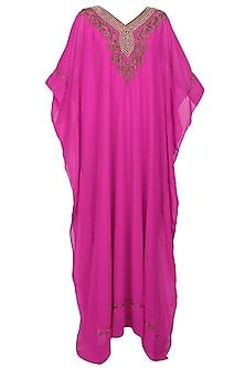 Pink flambe beads embroidered kaftan dress
