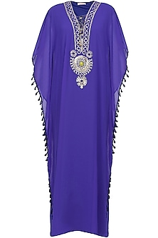 Imperial blue stones and metallic studs embroidered tribal kaftan dress