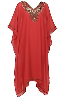 Crimson red beads and sequins embroidered kaftan dress