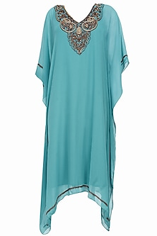 Teal beads and sequins embroidered kaftan dress