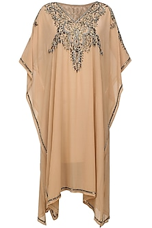 Rose dust floral beads and sequins embroidered kaftan dress