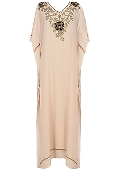 Rose dust and gold mix beads and sequins embroidered kaftan dress