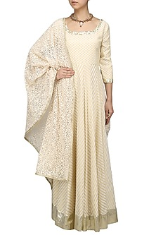 Off White Foil Work Chanderi Anarkali Kurta with Embroidered Dupatta by Umrao Couture