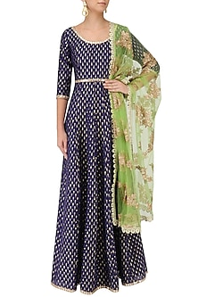 Purple Kalidaar Anarkali Kurta with Green Embroidered Dupatta by Umrao Couture