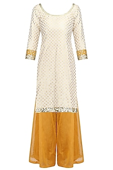 Off White Chanderi Short Kurta and Yellow Sharara Pants Set by Umrao Couture
