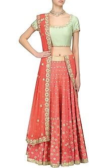 Mint Mirror Embroidered Blouse and Coral Lehenga Skirt Set by Umrao Couture