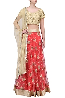 Off White Mirror Work Blouse and Blush Lehenga Skirt Set by Umrao Couture