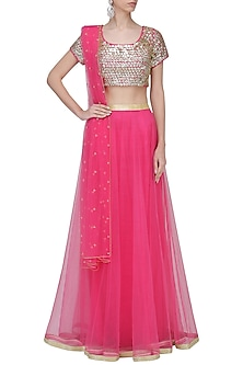 Pink Sequins Embroidered Flared Lehenga Set by Umrao Couture