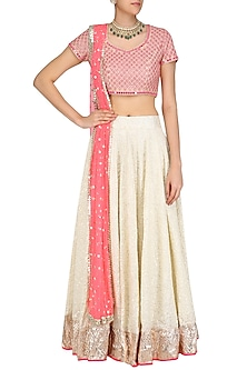 Pink Sequins Embroidered Blouse and Off White Lehenga Skirt Set by Umrao Couture