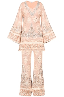Blush Pink Embroidered Kurta with Palazzo Pants