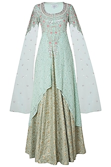 Green Embroidered Lehenga Set by Umrao Couture