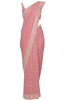 Dusty rose chikankari embroidered saree set