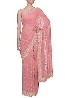 Dusty rose chikankari embroidered saree set by Umrao Couture
