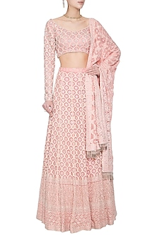 Blush pink chikankari embroidered lehenga set by Umrao Couture