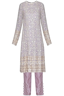 Misty grey chikankari embroidered kurta set by Umrao Couture