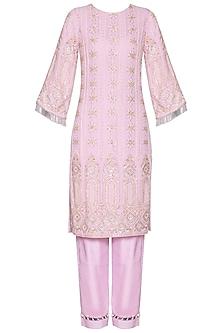 Lilac chikankari embroidered kurta set