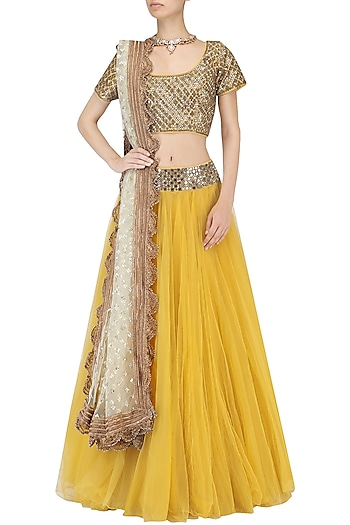 Mustard Mirror Work Blouse and Lehenga Set by Umrao Couture
