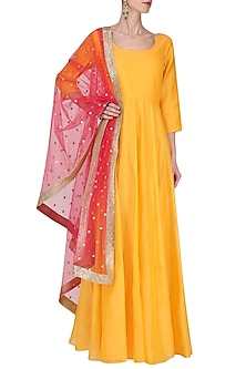 Mustard Chanderi Anarkali with Neon Pink Embroidered Dupatta by Umrao Couture