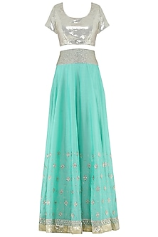 Powder Blue Sequins Embroidered Lehenga and Blouse Set by Umrao Couture