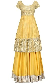 Yellow Sequins Embroidered Short Anarkali and Skirt Set by Umrao Couture
