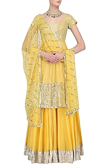 Yellow Sequins Short Anarkali