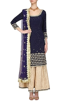 Navy and Gold Sequins Embroidered Kurta Set by Umrao Couture