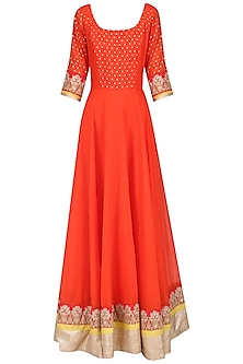 Orange and Yellow Embroidered Anarkali Set