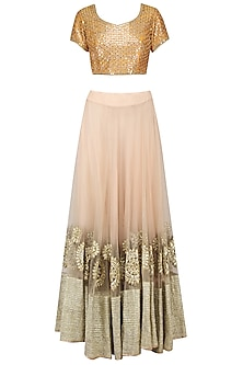 Mustard and Beige Mirror Work Lehenga Set by Umrao Couture
