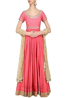 Bright Pink Mirror Work Anarkali Set by Umrao Couture