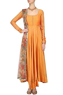 Mustard Plain Anarkali Set with Floral Print Dupatta by Umrao Couture