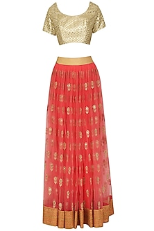 Pink and Mint Mirror Work Lehenga Set