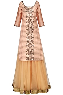 Icy Pink and Beige Mirror Work Lehenga Set