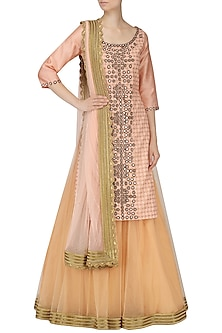 Icy Pink and Beige Mirror Work Lehenga Set by Umrao Couture