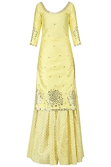 Lime Yellow Embroidered Kurta and Sharara Set