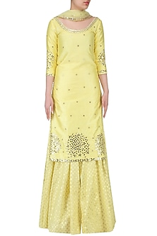 Lime Yellow Embroidered Kurta and Sharara Set by Umrao Couture
