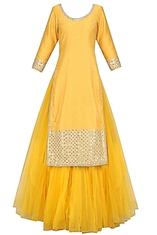 Yellow Mirror Work Kurta and Skirt Set