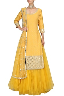 Yellow Mirror work Kurta Skirt