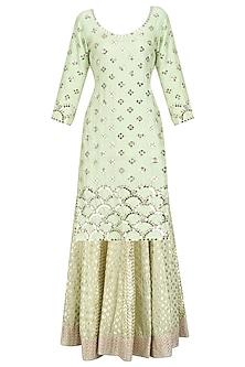 Mint Green Embroidered Kurta and Skirt Set