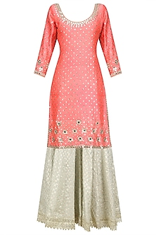 Coral Mirror Work Motifs Kurta and Skirt Set by Umrao Couture
