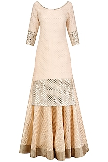 Blush Pink Embroidered Kurta and Skirt Set