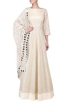 Gold Flared Anarkali with Floral Embroidered Dupatta by Umrao Couture