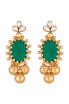 Antique Gold Finish Green Onyx Stone & Pearl Earrings by Unniyarcha