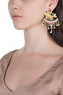 Gold Finish Kundan & Pearl Fish Earrings by Unniyarcha