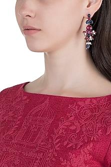 Oxidised Silver Finish Kundan, Pink & Blue Earrings by Unniyarcha