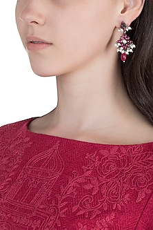 Oxidised Silver Finish Pink Floral Earrings by Unniyarcha