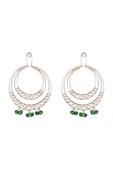 Oxidised Silver Finish Green Stone & Kundan Earrings by Unniyarcha