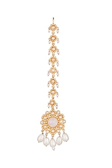 Gold Finish Rose Quartz Stone & Pearl Head Harness by Unniyarcha