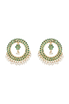 Antique Gold Finish Green Stone & Pearl Round Earrings by Unniyarcha